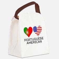 Portuguese American Hearts Canvas Lunch Bag