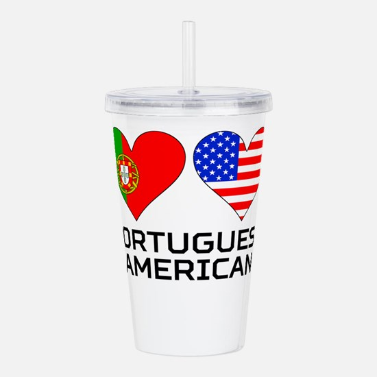 Portuguese American Hearts Acrylic Double-wall Tum