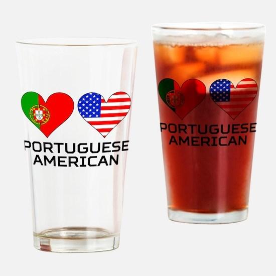 Portuguese American Hearts Drinking Glass