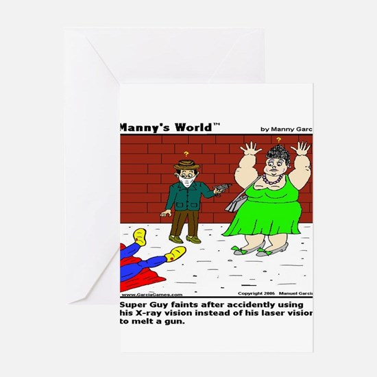 SUPERGUY FAINTS! Greeting Cards