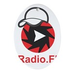 1Radio.FM - Dark Logo Oval Ornament