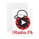 1Radio.FM - Dark Logo Greeting Cards