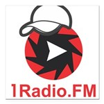 1Radio.FM - Dark Logo Square Car Magnet 3