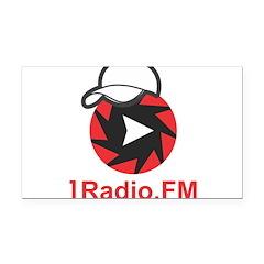 1Radio.FM - Dark Logo Rectangle Car Magnet