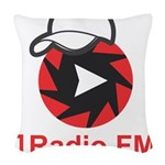 1Radio.FM - Dark Logo Woven Throw Pillow