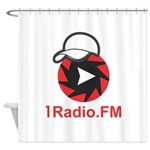 1Radio.FM - Dark Logo Shower Curtain