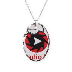 1Radio.FM - Dark Logo Necklace Oval Charm