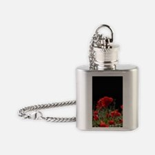 Red Poppies in bright sunlight Flask Necklace