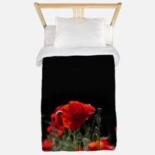 Red Poppies in bright sunlight Twin Duvet