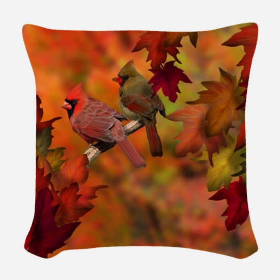 Cardinal Refuge Woven Throw Pillow