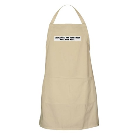 Couple on 7 day honeymoon mak BBQ Apron