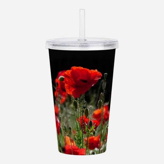 Red Poppies in bright Acrylic Double-wall Tumbler