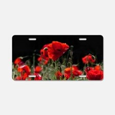 Red Poppies in bright sunli Aluminum License Plate