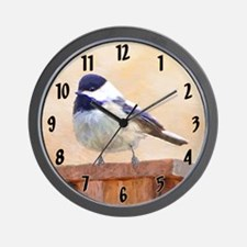 Chickadee on Birdhouse Wall Clock