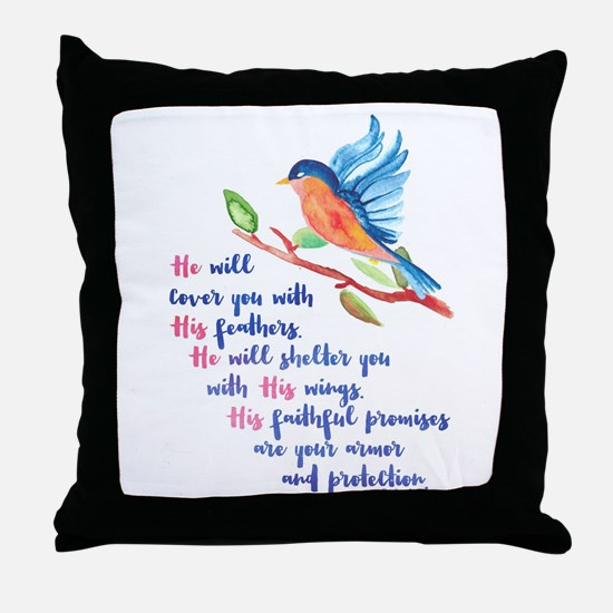 He will Cover You Throw Pillow