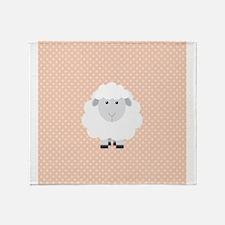 Sweet Baby Lamb on Pastel Pink and Cream Throw Bla