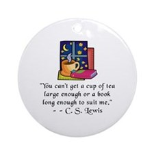 Tea & Books w Quote Ornament (Round)