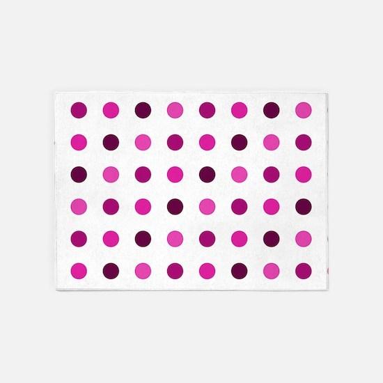 Pink & Purple, Tricolor: Polka Dots 5'x7'Area Rug