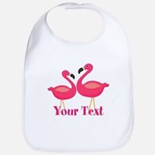 Personalizable Pink Flamingoes Baby Bib