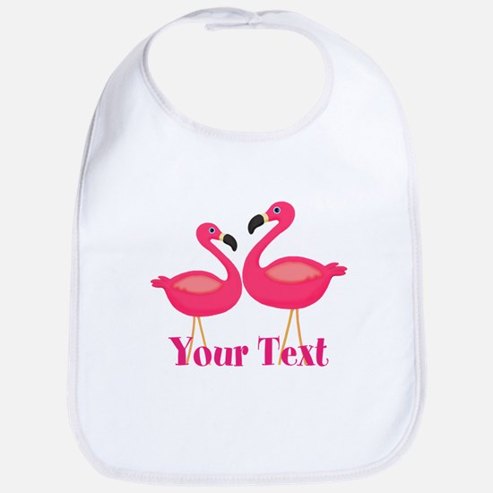 Personalizable Pink Flamingoes Baby Bib