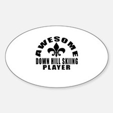 Awesome Down Hill Skiing Player Des Sticker (Oval)