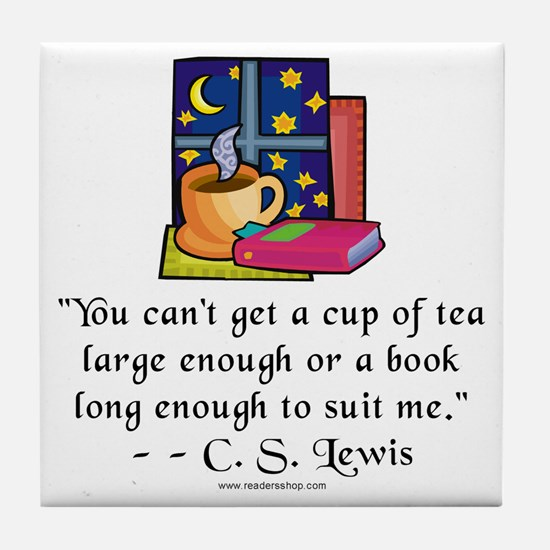 Tea & Books w Quote Tile Coaster