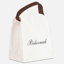 Bridesmaid Black Script Canvas Lunch Bag