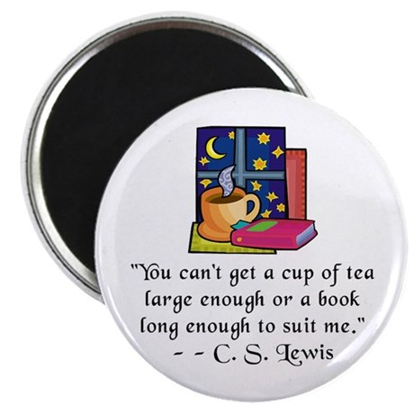 "Tea & Books w Quote 2.25"" Magnet (10 pack)"