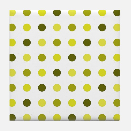 Yellow, Tricolor: Polka Dots Pattern Tile Coaster