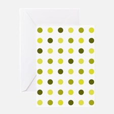 Yellow, Tricolor: Polka Dots Pattern Greeting Card