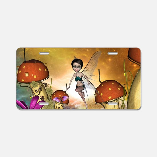 Cute flying fairy in the sunset Aluminum License P