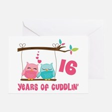 16th Anniversary Owl Couple Greeting Cards
