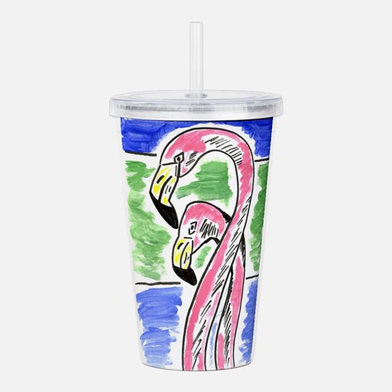 Two Flamingos Acrylic Double-wall Tumbler
