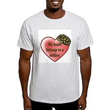 My heart belongs to a soldier Ash Grey T-Shirt