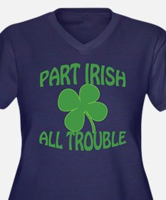 Part Irish A Women's Plus Size V-Neck Dark T-Shirt