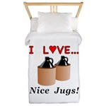 I Love Nice Jugs Twin Duvet