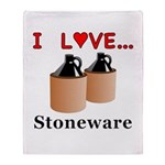 I Love Stoneware Throw Blanket