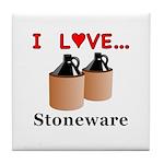 I Love Stoneware Tile Coaster