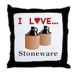 I Love Stoneware Throw Pillow