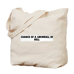 Chance of a snowball in hell Tote Bag