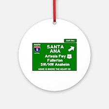 I5 INTERSTATE - CALIFORNIA - SANTA Round Ornament