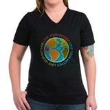 Climate march Womens V-Neck T-shirts (Dark)