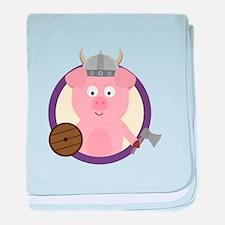 Viking pig in purple circle baby blanket