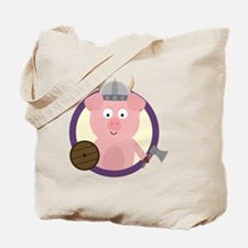 Viking pig in purple circle Tote Bag