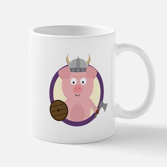 Viking pig in purple circle Mugs