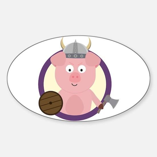 Viking pig in purple circle Decal