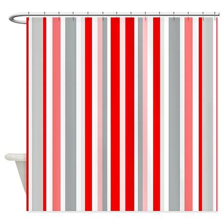 Red, Grey U0026 White: Stripes Pattern Shower Curtain