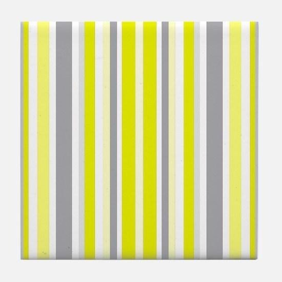Yellow, Grey & White: Stripes Pattern Tile Coaster