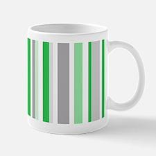 Green, Grey & White: Stripes Pattern (V Mug