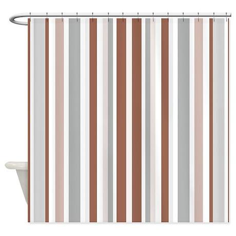 Brown, Grey U0026 White: Stripes Patter Shower Curtain